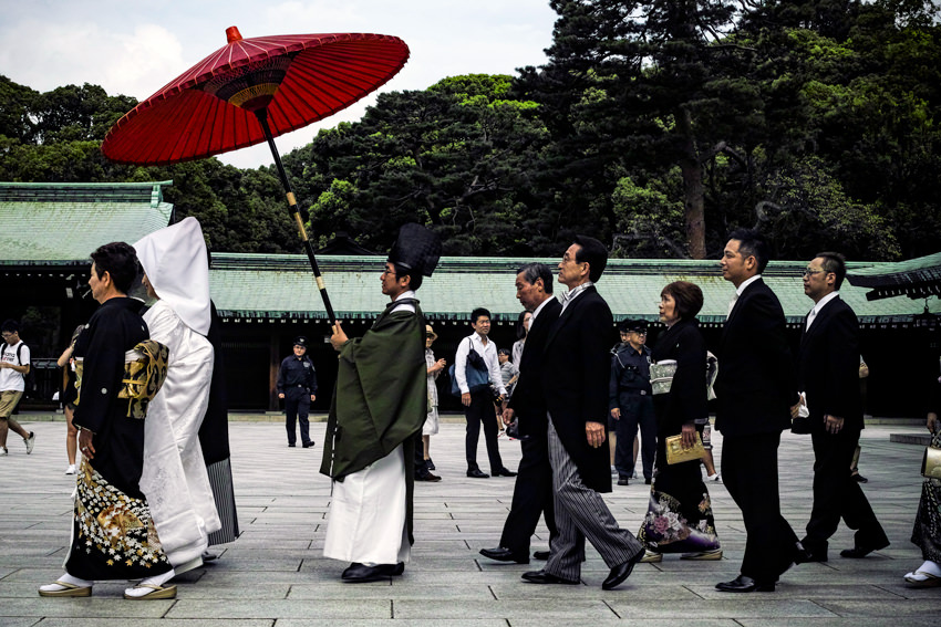 Shinto priest walking