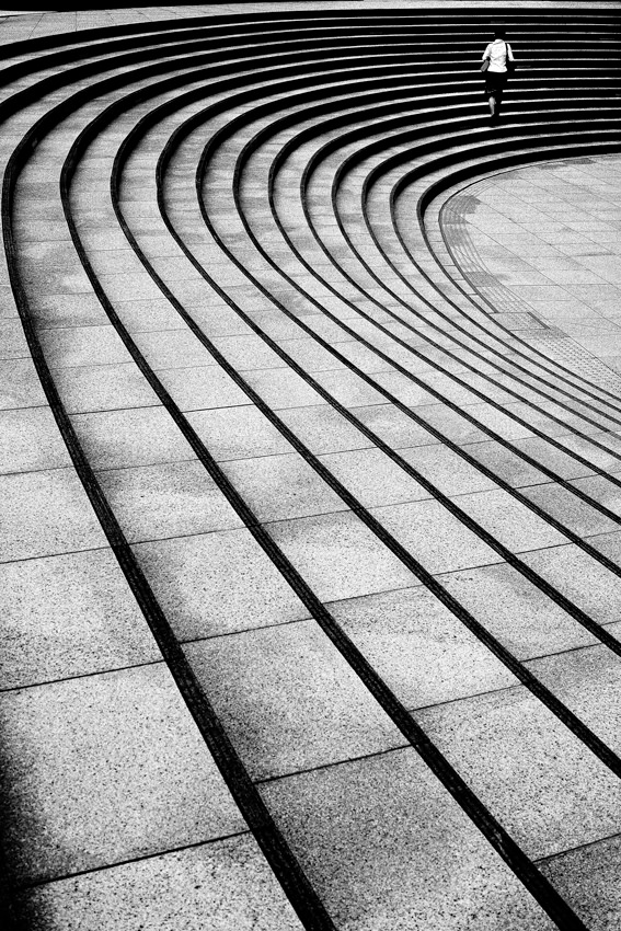 curved lines and woman