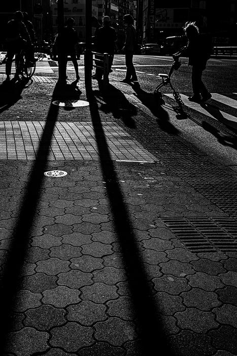 交差点の長い影