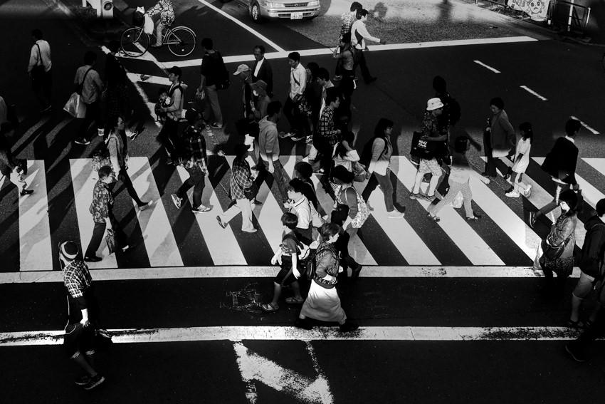 Crowd on pedestrian crossing