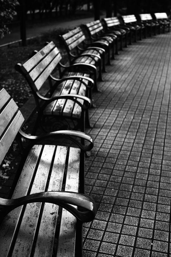 Benches in Hibiya park
