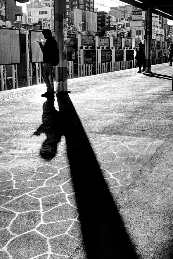 Long shadows on platform