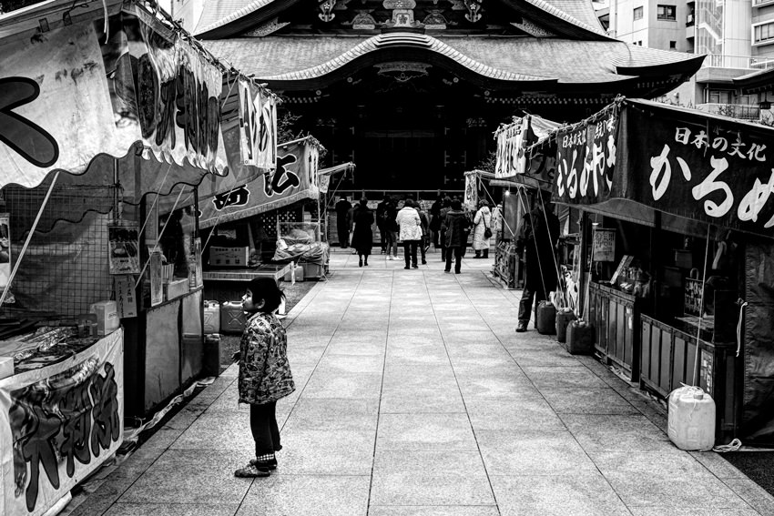 Stalls in approach way of Shinto shrine
