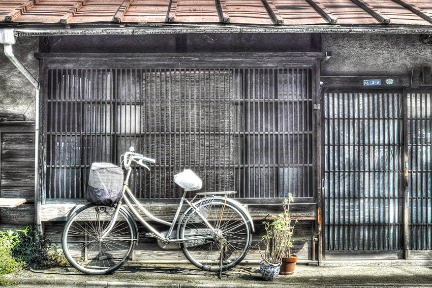 Old house and bicycle