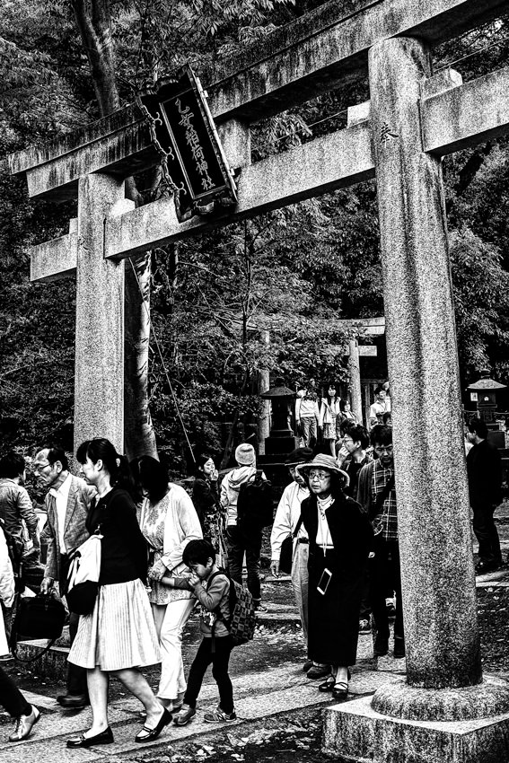 Worshipers coming through Torii