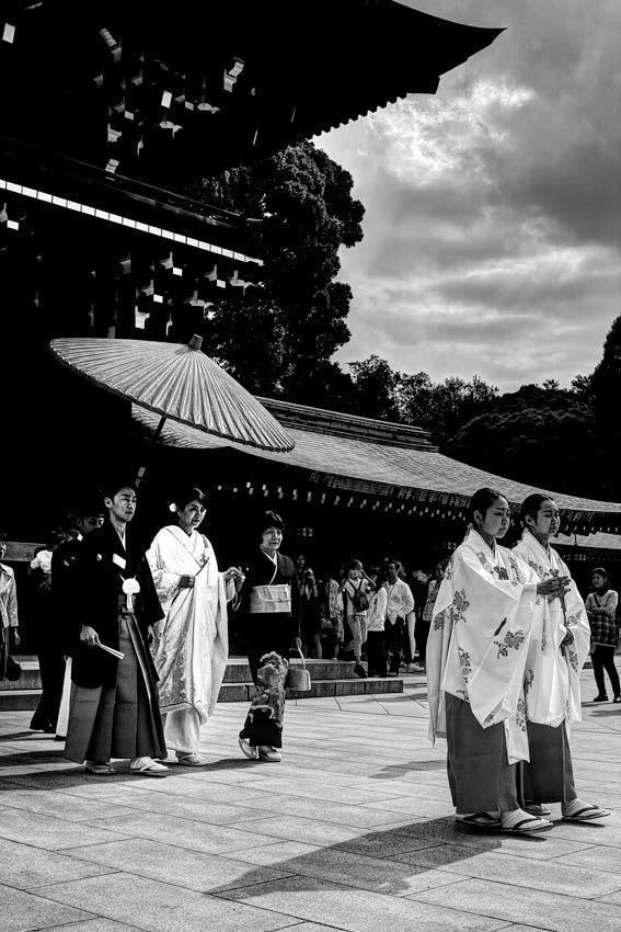 Bridal couple under umbrella