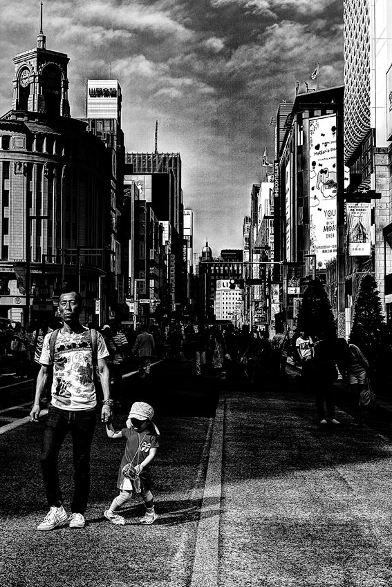 Parent and child in pedestrian paradise