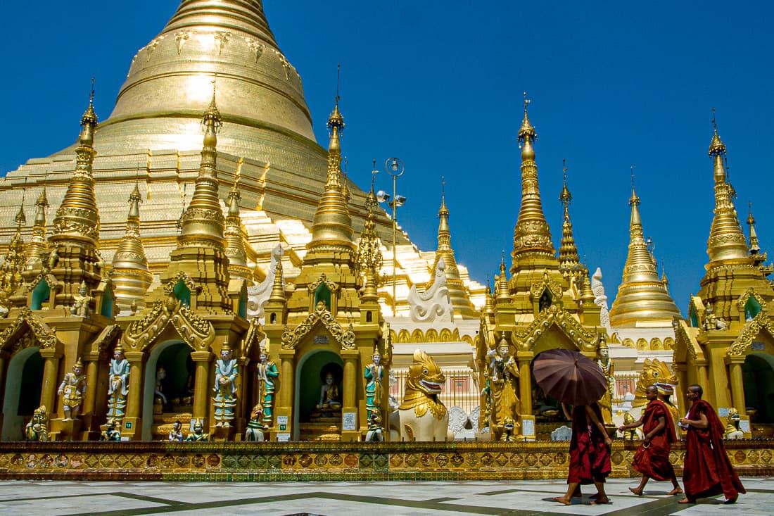 Monks walking in precinct of Shwedagon Pagoda