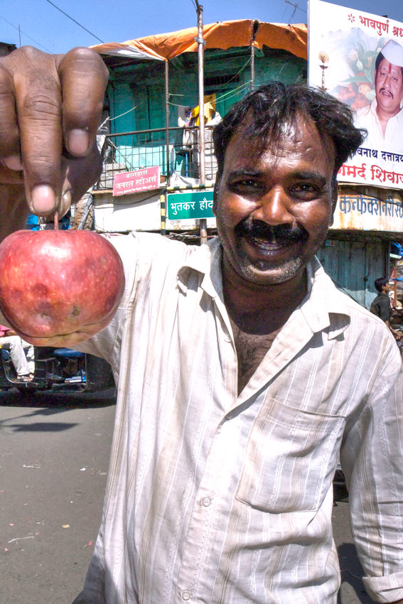 Man having apple