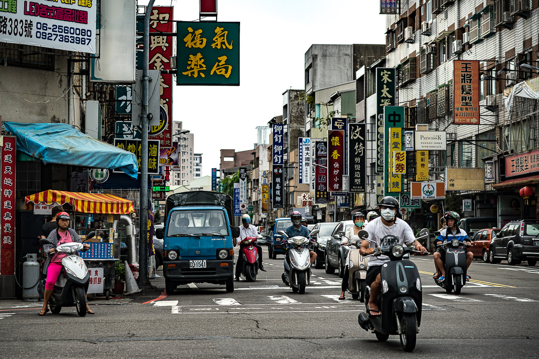 Motorbikes in crossroads