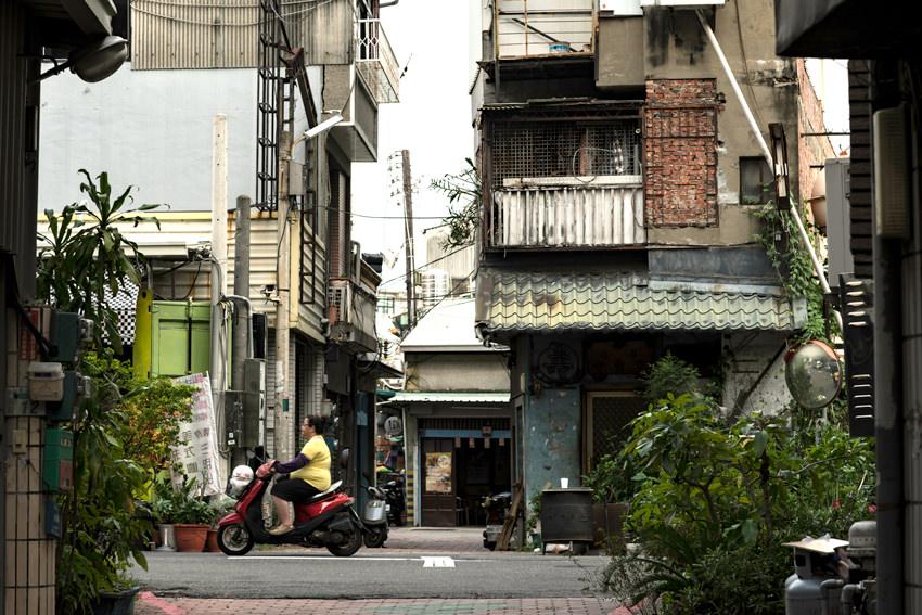 Motorbike running residential area