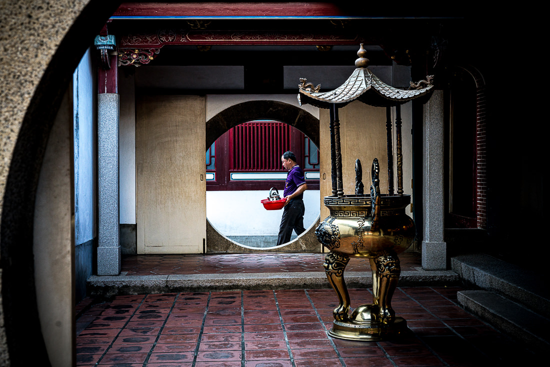 Round hole in Taiwan Fu City God Temple