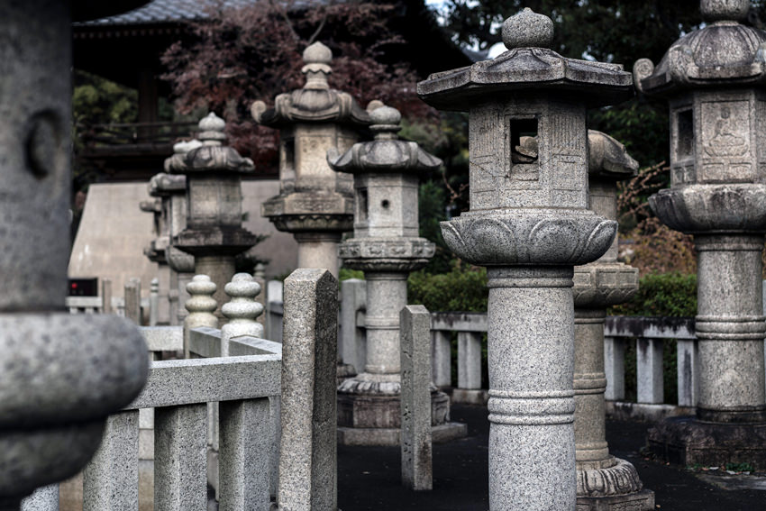 Stone lanterns in Gokoku-ji