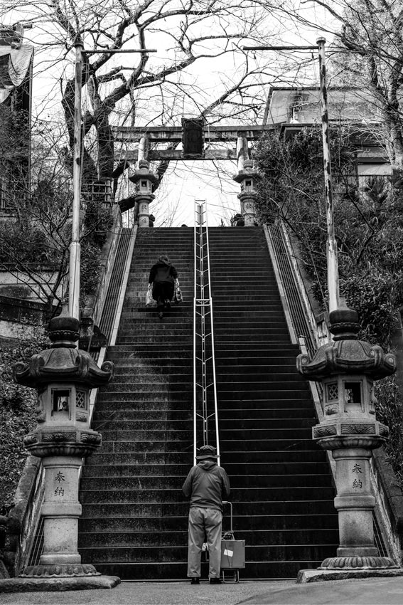 Steep stairway of Shinto shrine