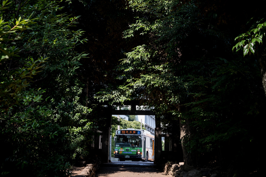 Bus on other side of Torii gate