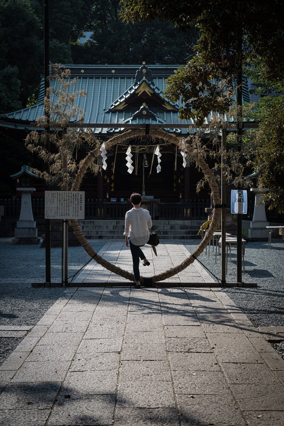 Woman entering circle
