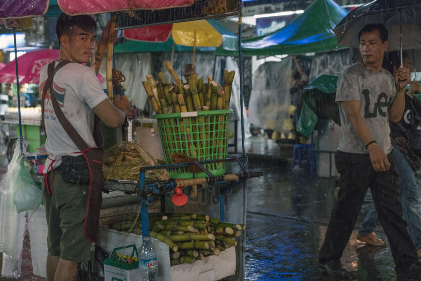 The man selling sugar cane juice