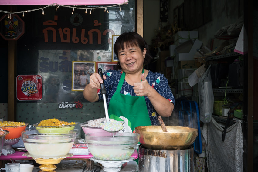 Woman selling Bua Loy