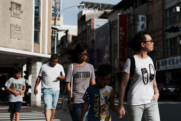 Family Crossing At The Cross Walk (Taiwan)