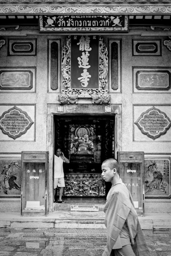 Young monk in precinct
