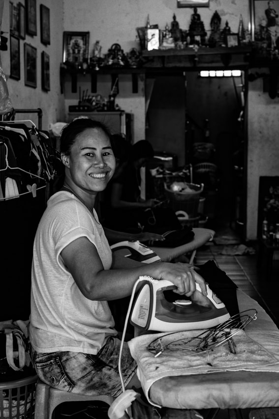 Woman doing ironing