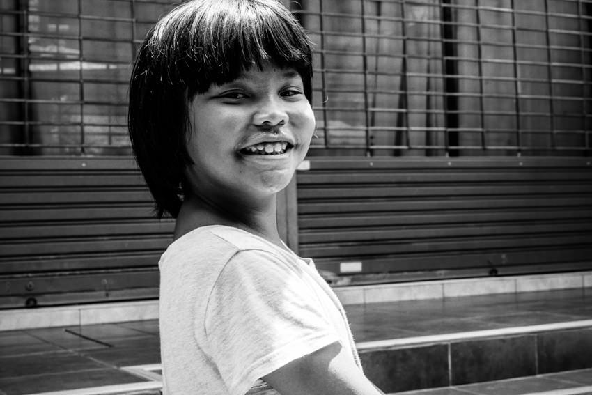 Bobbed haired girl smiling