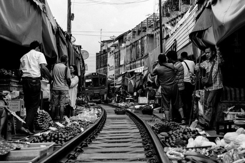 Train running in market