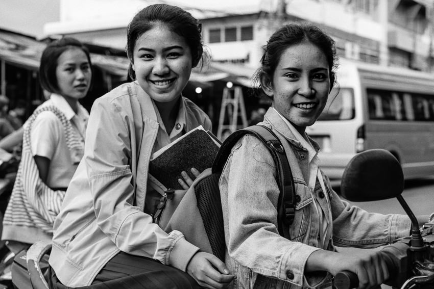 Three school girls in Mae Klong