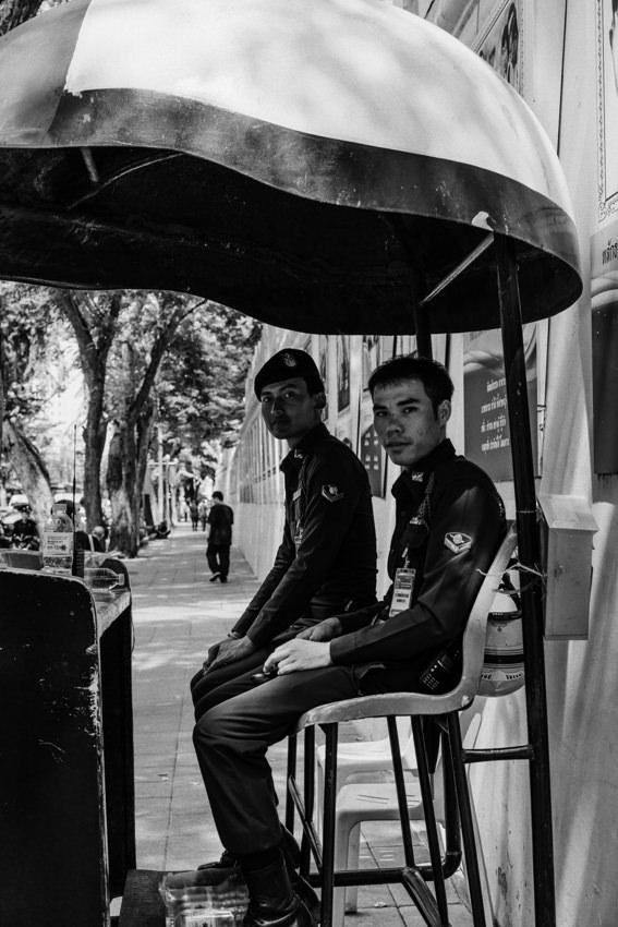 Policemen working under unique roof