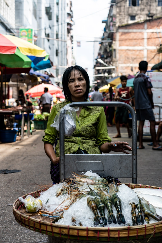 Woman selling shrimps