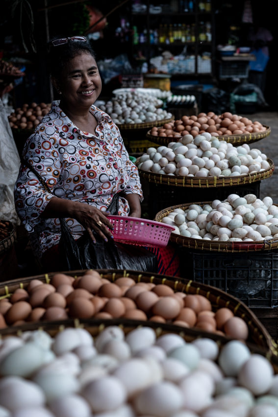 Woman selling eggs in market