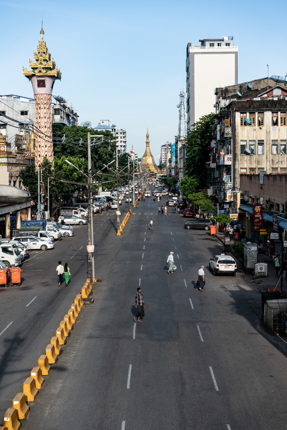 Straight street stretching to Sule Pagoda