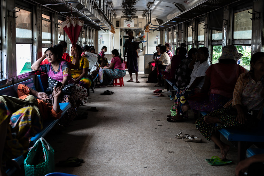 Passengers waiting for departure at a languid pace