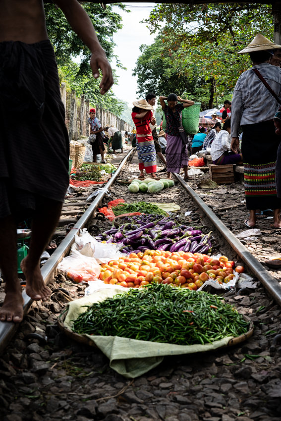 Vegetables displayed on railway track