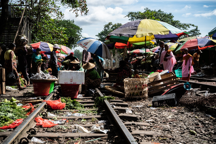 Vendor doing business on railway track