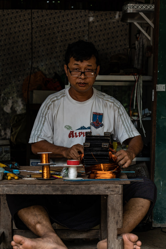 Man working in small factory