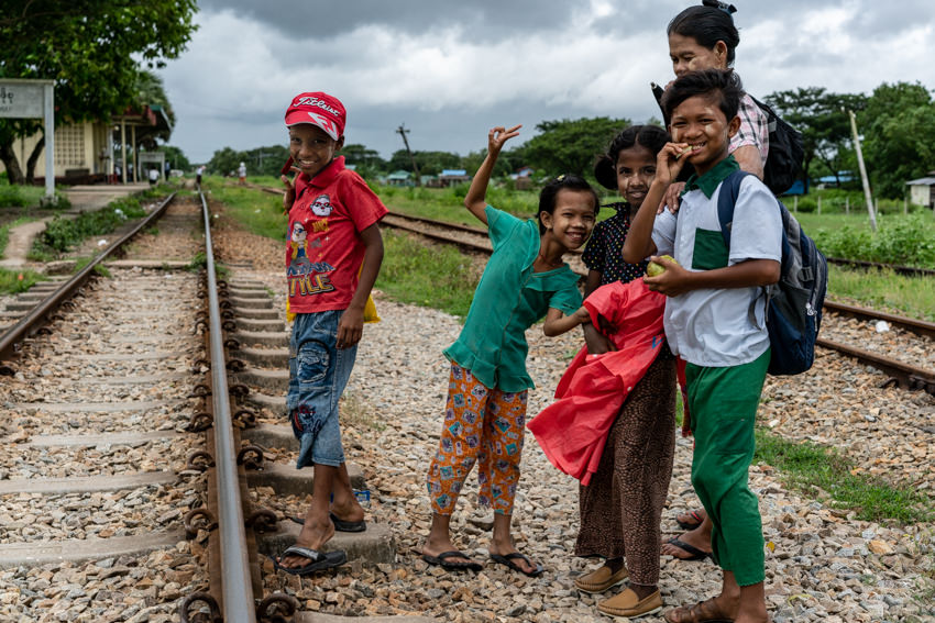 Family on railway track