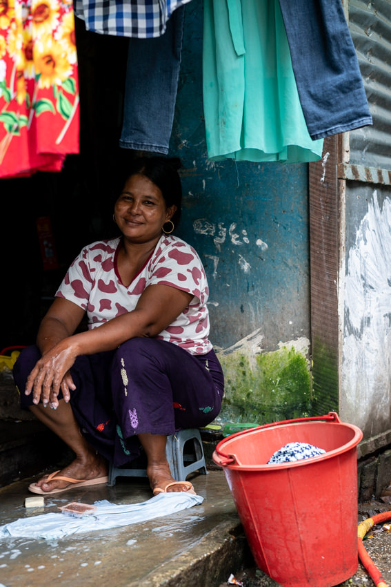 Woman washing laundriesl