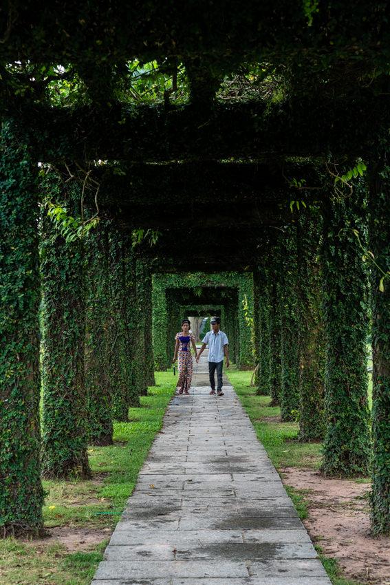 タウッチャン戦没者墓地の中を手を繋いで歩くカップル