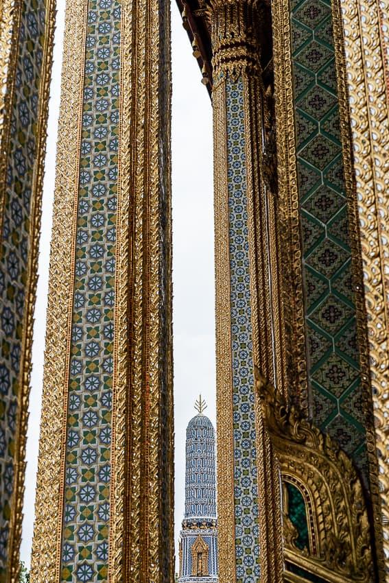 decorative pagoda between decorative pillars in Wat Phra Kaew