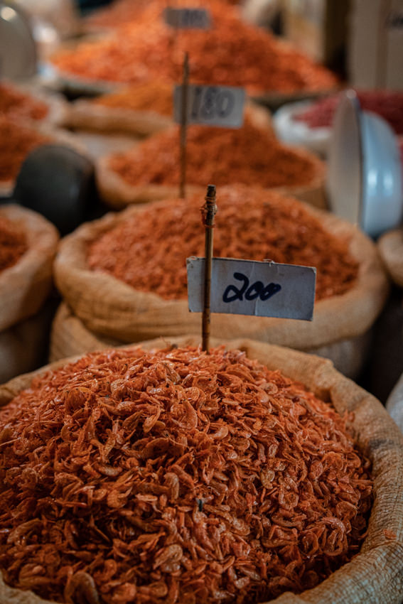 Heap of dried shrimp in Tha Tien Market