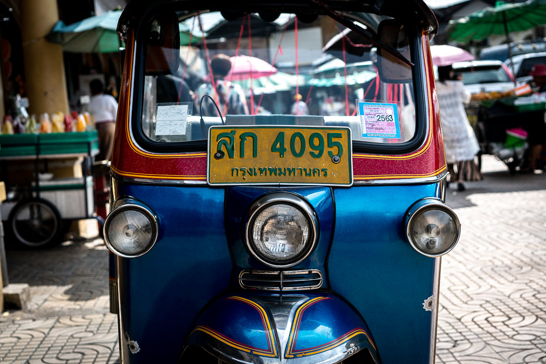 Tuk-tuk parked by the roadside