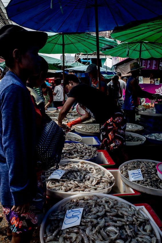クロントゥーイ市場で売られていたエビ