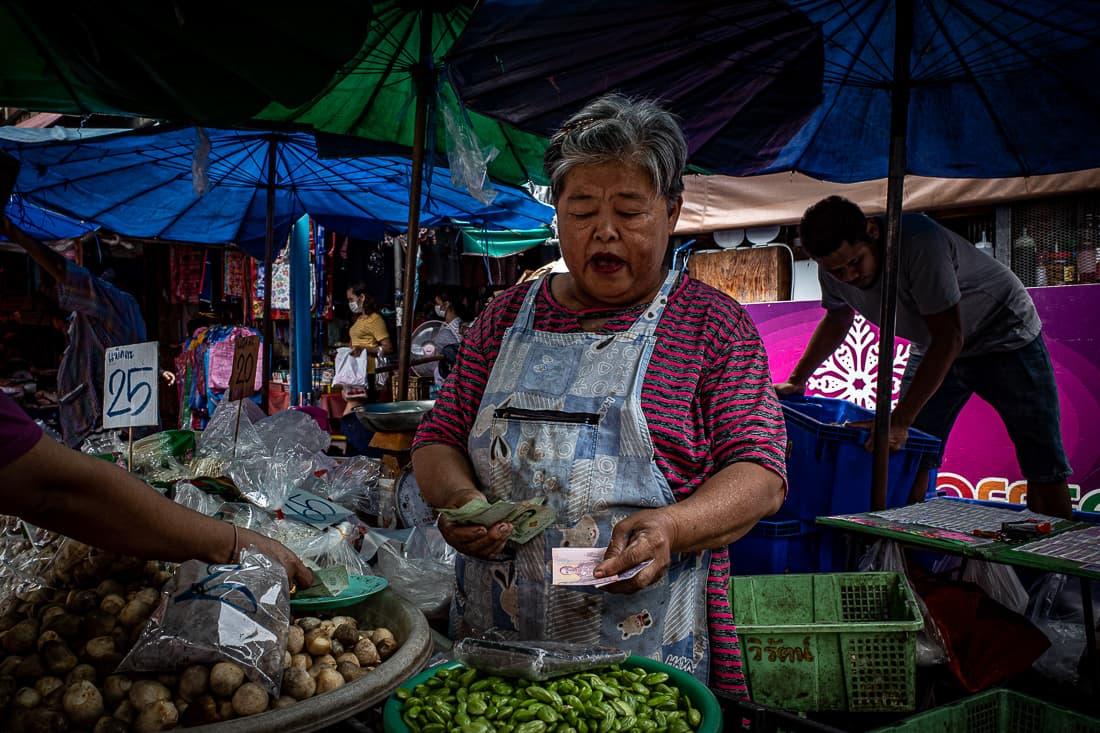 Woman receiving bills