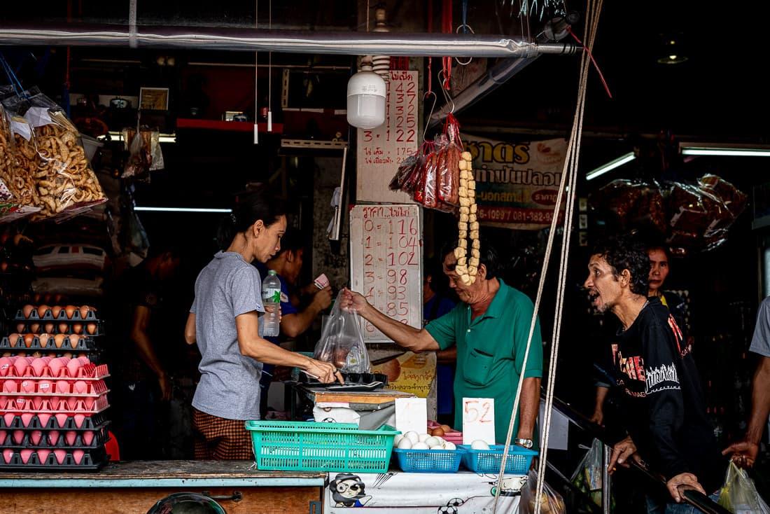 Shop selling eggs in Khlong Toei Market