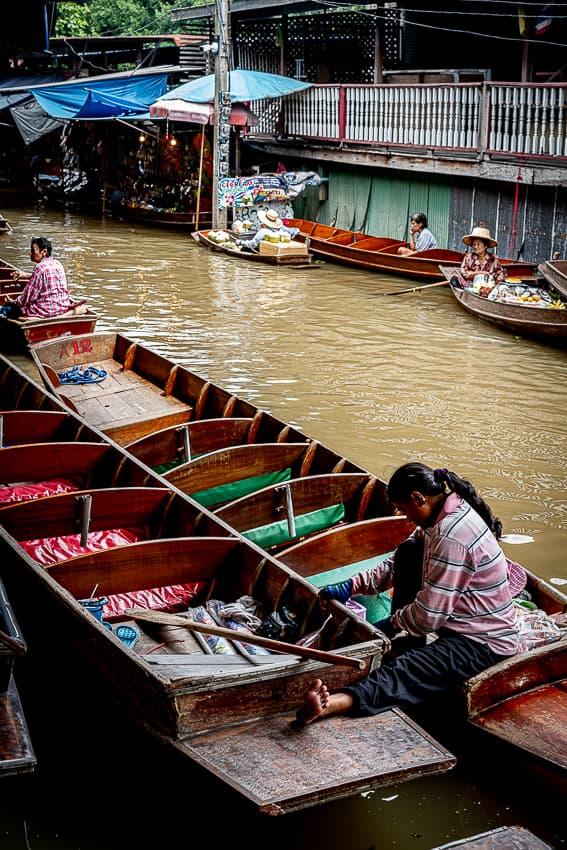 Empty boats in Damnoen Saduak Floating Market