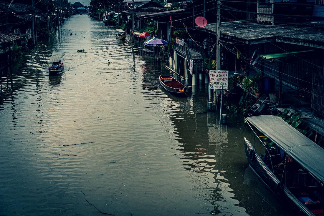 Idyllic water channel in Damnoen Saduak
