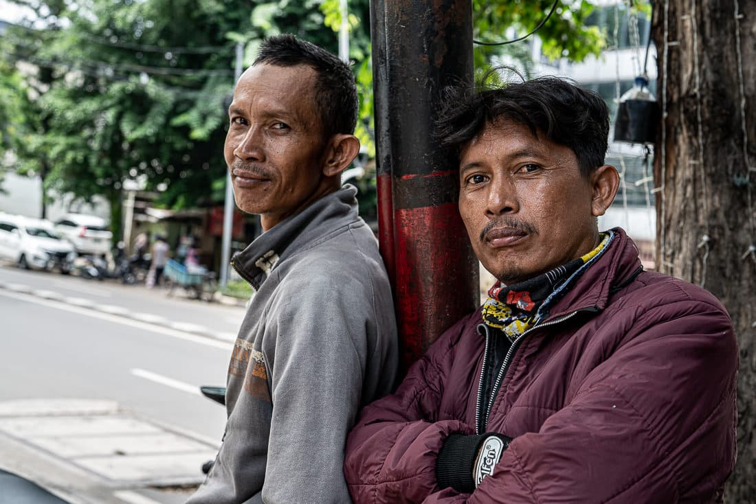 Cool-looking motorbike taxi drivers