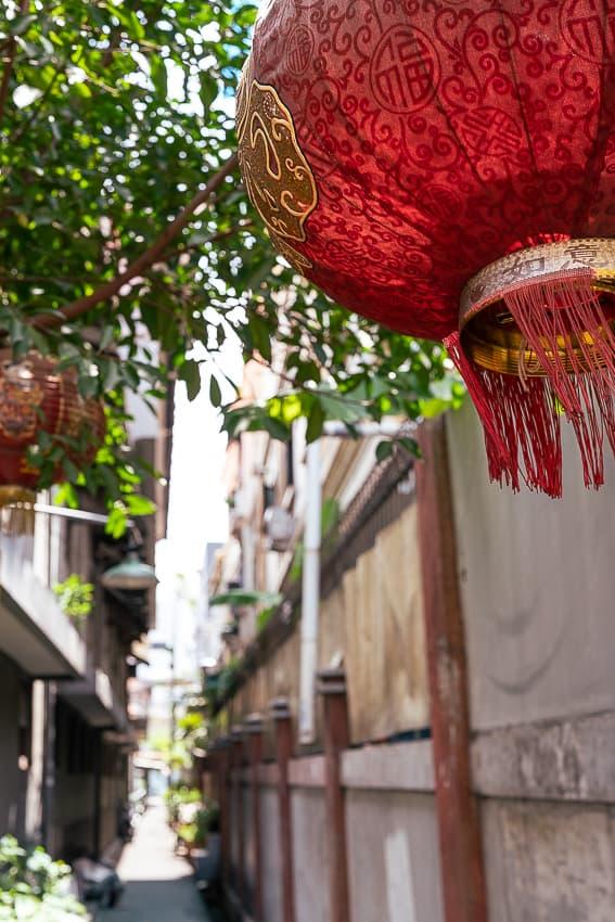 Red lanterns in the lane