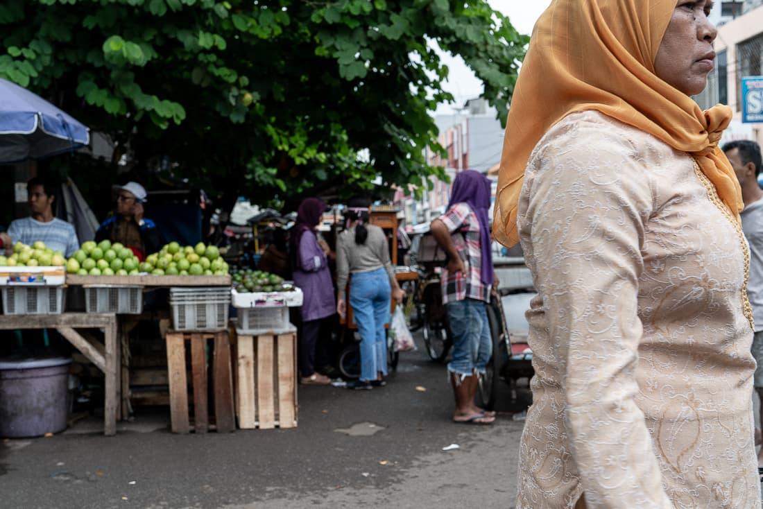 Woman wearing a vivid hijab